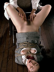Japanese office girl is tied up and fucked from behind