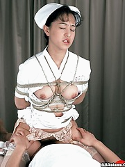 Nurse fucks doctor while being tied up
