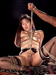 Hot chick with nice tits gets roped up and teased