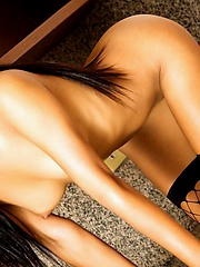Hot Thai babe Thainee in her kitchen stripping to show of her amazing body